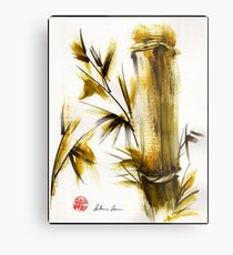 """Morning Light"" Original acrylic and ink bamboo painting. Metal Print"