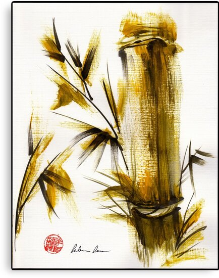 """Morning Light"" Original acrylic and ink bamboo painting. by Rebecca Rees"