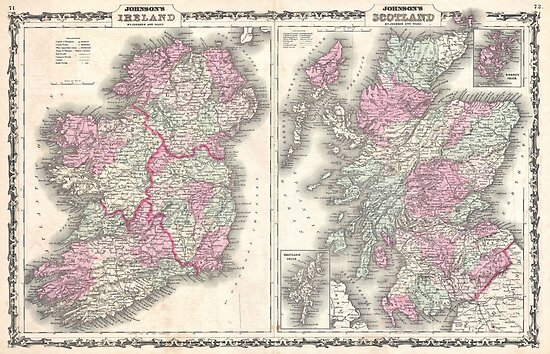 Map Of Ireland Poster.Vintage Map Of Ireland And Scotland 1862 Posters By Bravuramedia