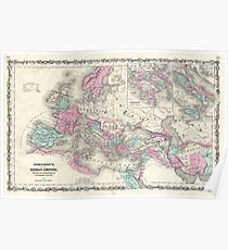 Vintage Map of The Roman Empire (1862) Poster