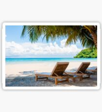 Sunbeds on exotic tropical palm beach Sticker