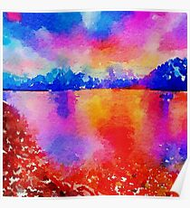Beautiful,landscape painting,water color Poster