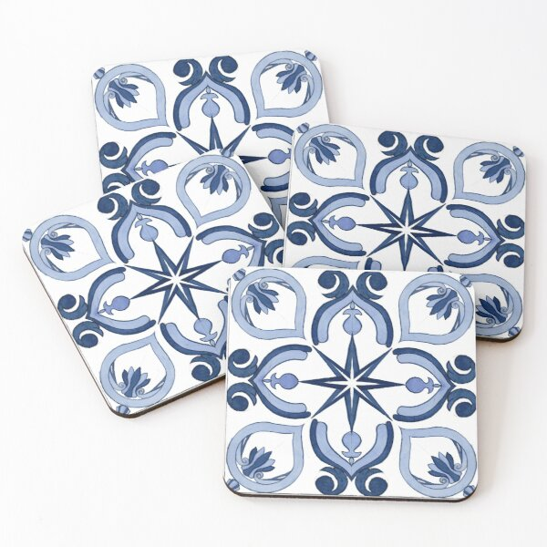 Mediterranean Tiles 12 Coasters (Set of 4)
