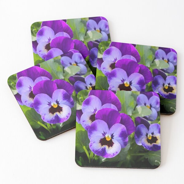 Purple Pansy Coasters (Set of 4)