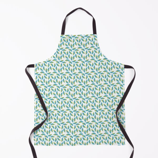 Blue and yellow watercolor feather seamless pattern Apron