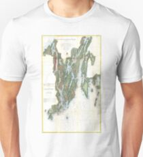 Vintage Kennebec and Sheepscot River Map (1862) T-Shirt