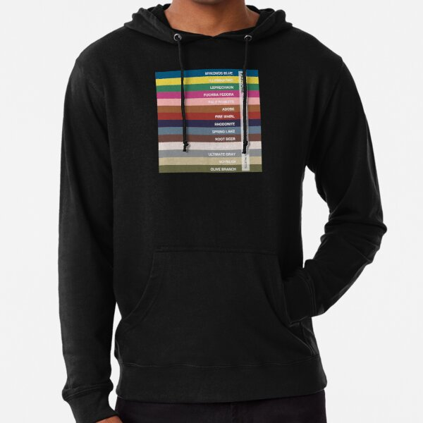 New York Fashion Week Color Palette, Autumn/Winter 2021/2022 (Pantone - all 14 colors, with labels) Lightweight Hoodie