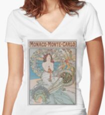 Vintage poster - Monte Carlo Women's Fitted V-Neck T-Shirt