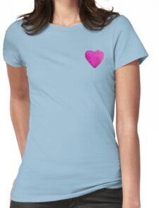 Watercolor Pink Heart Womens Fitted T-Shirt