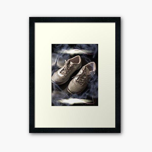 Arthritic silver dancing shoes Framed Art Print