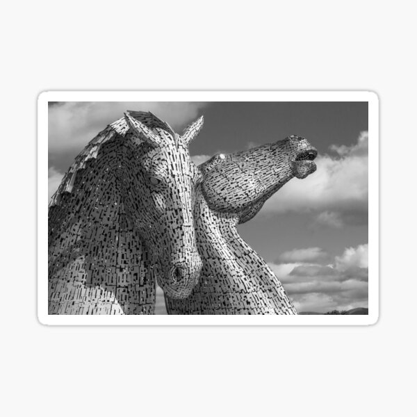The Falkirk Kelpies in Scotland in Black and White Sticker