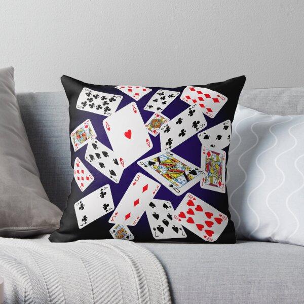 Falling Cards Throw Pillow