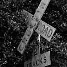 Railroad Crossing BW by Nathan Little