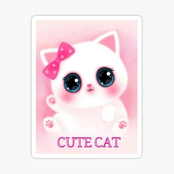 Lovely pink cat Sticker