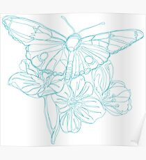Butterflies and Flowers Continuous Line Drawing Poster