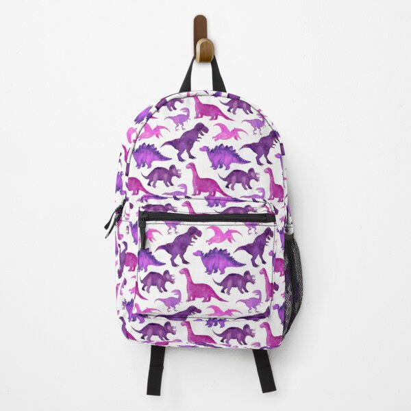 Pink and Purple Watercolor Dinos on White Backpack