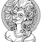 Autumn -Sugar Skull girl - black and white by Isobel Von Finklestein