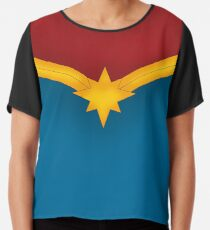 Golden Star with Red and Blue Chiffon Top
