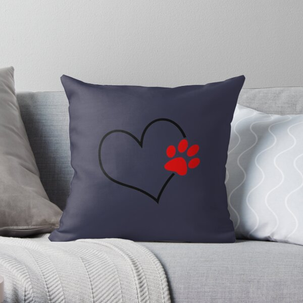 Paw on my heart Throw Pillow