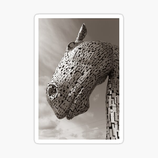 Looking up at a Falkirk Kelpie in Black and White Sepia tone Sticker