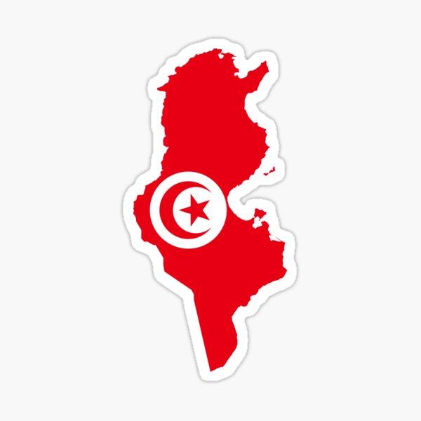 Carte du drapeau de la Tunisie Sticker