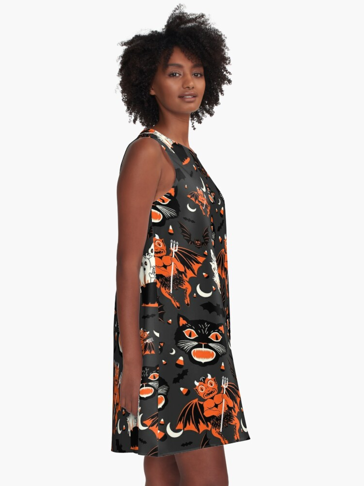 Alternate view of Vintage Halloween Pattern A-Line Dress