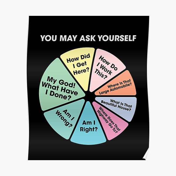 80's Music Retro Lyrics - You May Ask Yourself Pie Chart Poster