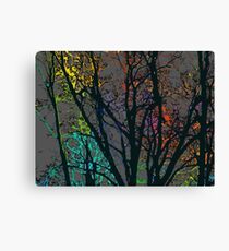 Rainbow trees (dark) Canvas Print