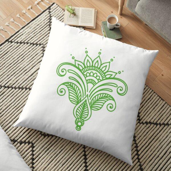 Green Flower mandala Floor Pillow