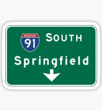 Springfield, Road Sign, MA Sticker