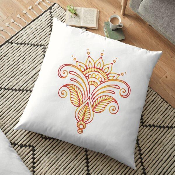 Red yellow flower mandala Floor Pillow