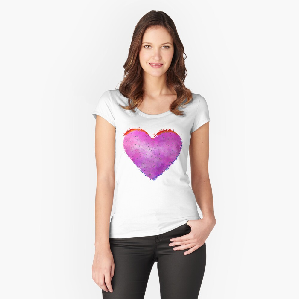 Glitch Heart Fitted Scoop T-Shirt