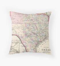 Vintage Map of Texas (1866) Throw Pillow