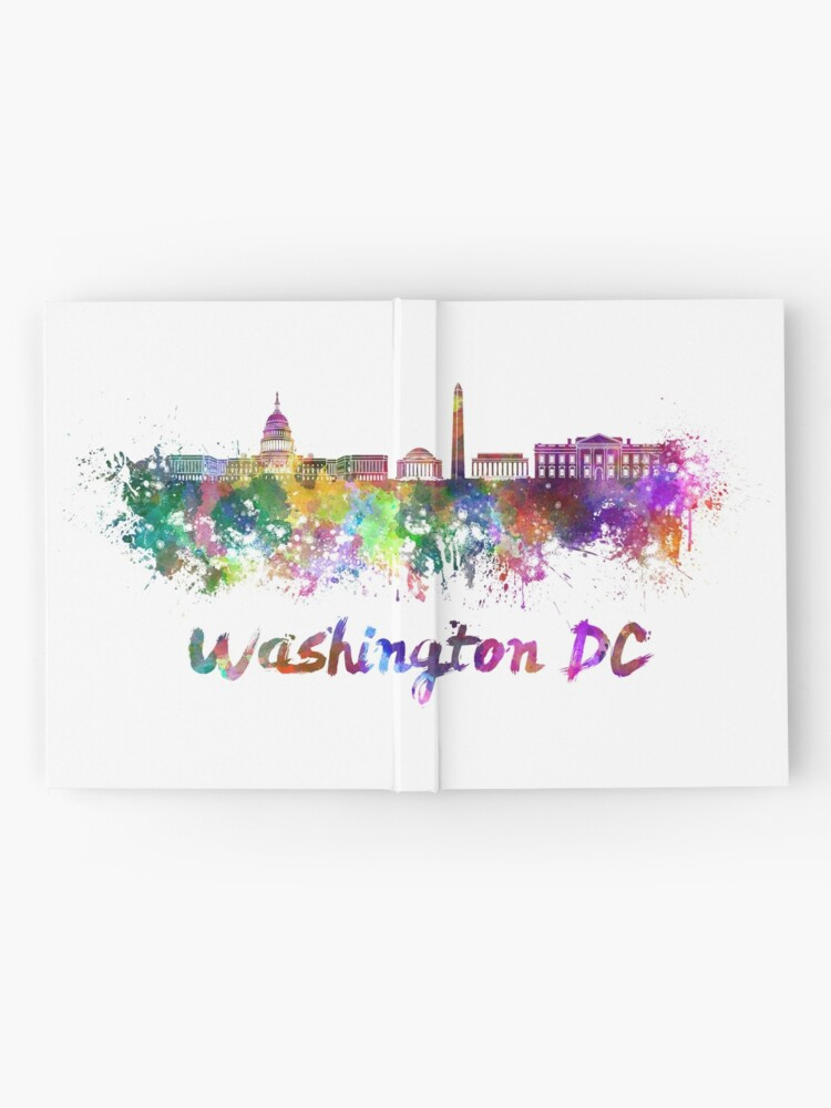 Vista alternativa de Cuaderno de tapa dura Horizonte de Washington DC en acuarela