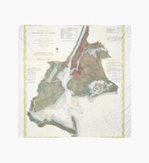 Pañuelo Mapa vintage del puerto de la ciudad de Nueva York (1866)