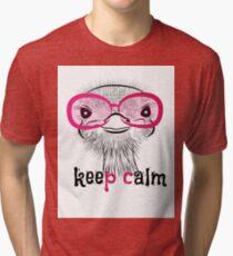 bird head ostrich lettering Tri-blend T-Shirt