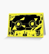 Yellow Retro Cassette Tape  80 1980 1980's 1980s Music Greeting Card