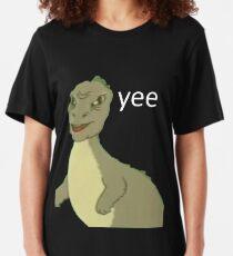 Yee [dinosaur maym :^)] (version 1, video quality, white text) Slim Fit T-Shirt