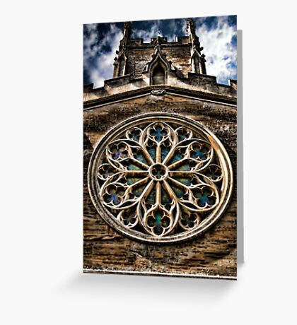 Round Stained Glass Church Window HDR  Greeting Card