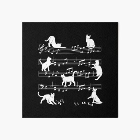 Cats with music notes. Art Board Print