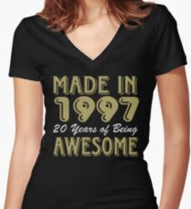 Made in 1997 20 years of being awesome Women's Fitted V-Neck T-Shirt