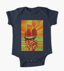 Junk on Sea of Green Cubist Abstract One Piece - Short Sleeve