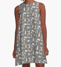 Woodland Creatures Collage A-Line Dress