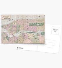 Postales Mapa vintage de la ciudad de Nueva York (1873)