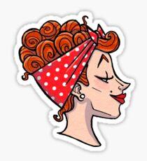Rockabilly Redhead - 50s Pinup Cameo Sticker