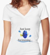 Finding Dory - Just keep Swimming Women's Fitted V-Neck T-Shirt
