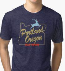 Portland Oregon - Made in Oregon Sign Tri-blend T-Shirt