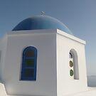 Greek church - Santorini by Caroline Clarkson