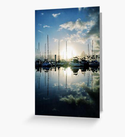 mirrored marina Greeting Card