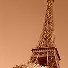 Eiffel Tower in sepia by Caroline Clarkson